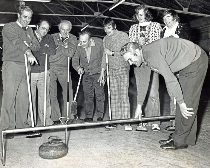 1978: Measuring a shot at the area bonspiel at Donald's Ice Rink, Aberdeen, is Wilbert Fiddes, of Meldrum, and Daviot Curling Club