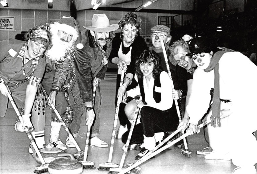 1988: Taking to the ice in fancy dress for some festive fun at Aberdeen Curling Rink were members of the AWW Curling Club (Another Whisky and Water), with teams The Pavlovas and The Roly Polys preparing to do battle