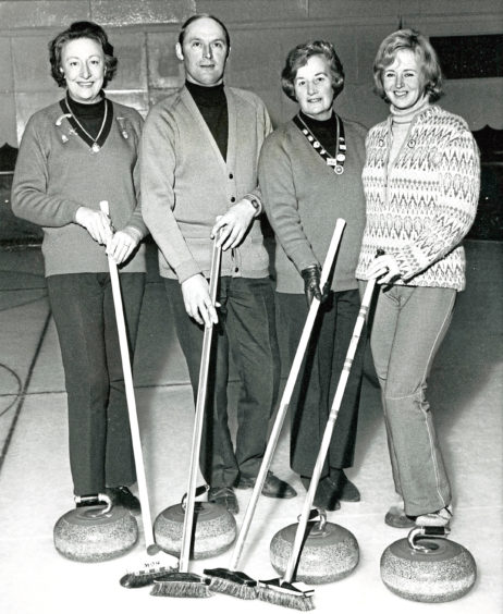 1974: Each male curler was paired with three ladies at the Three And One competition at Donald's Ice Rink. Pictured are competition winners Mary Donald, Sandy Shand, Phyllis Repper and Norma Shewan