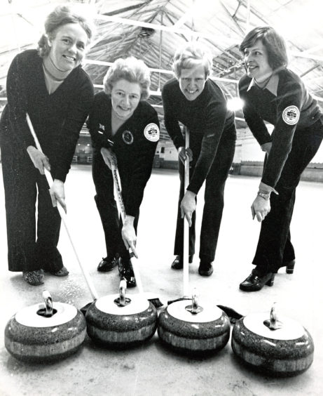 1980: Curlers, from left, May Gray, Lena Michie,  Eileen Anderson and Irene Duncan