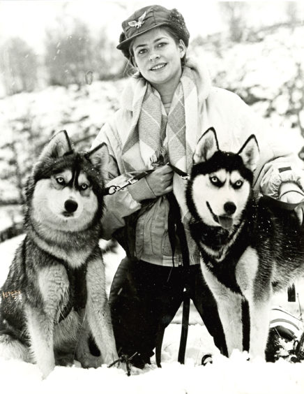 1986: Jackie Cooke is pictured with her dogs Natyanka, left, and Morkovitch