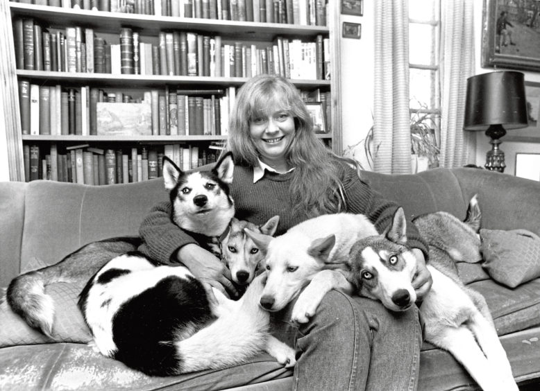 1988: There was a happy ending when Kay Coyne was reunited with four of her beloved huskies in her cottage near Banchory. Pooka, the adult leader, and pups Helen, Ruby and Shingle were harnessed together pulling a cart when the harness broke and the dogs took off