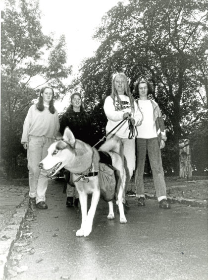 1992: Taking the lead on a sponsored walk were, from left, Sandra Middleton, Katie Keith, Claire Mullinger and Pauline Burr with husky Natasha
