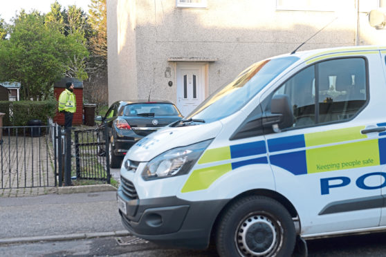 Police at the scene in Garthdee yesterday