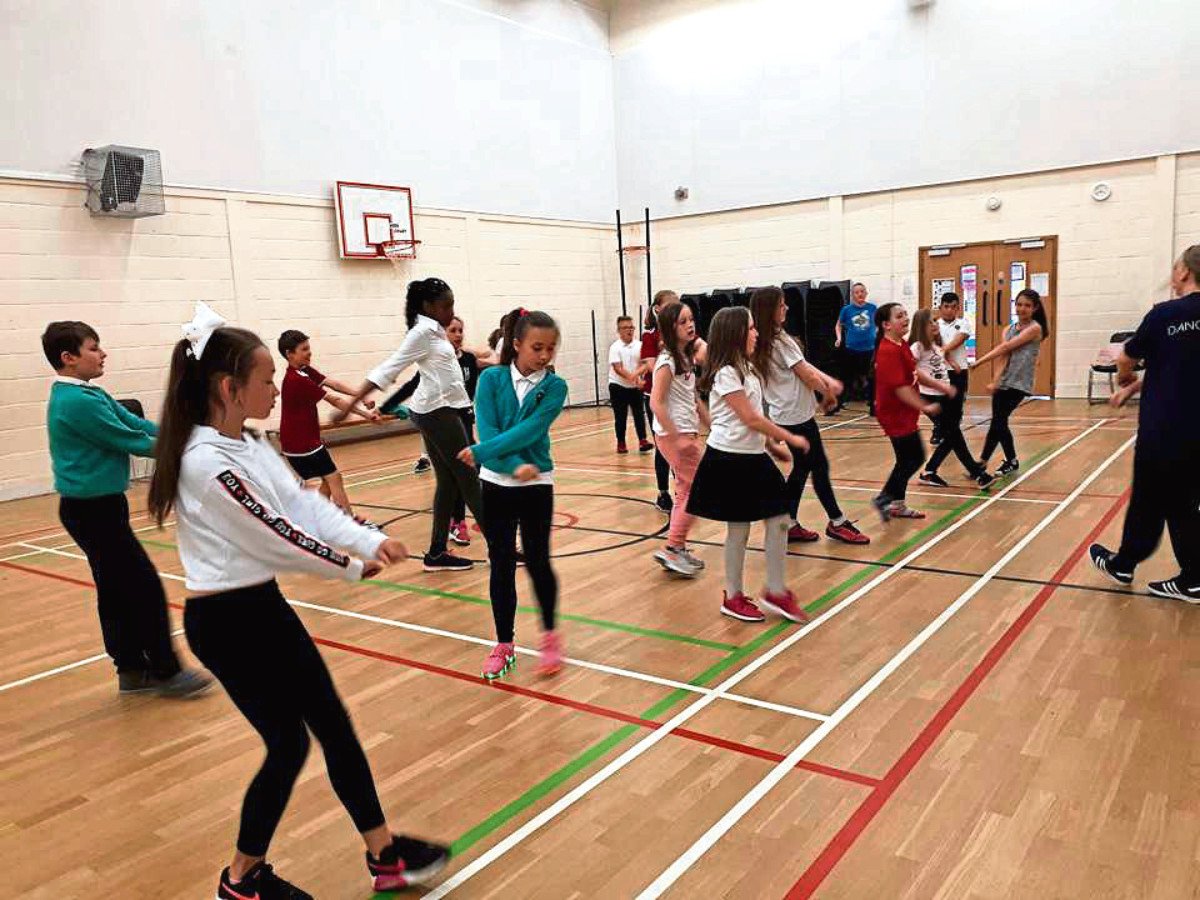 Pupils from Riverbank Primary School taking part in a hip hop dance session led by Kathryn Spence from Citymoves