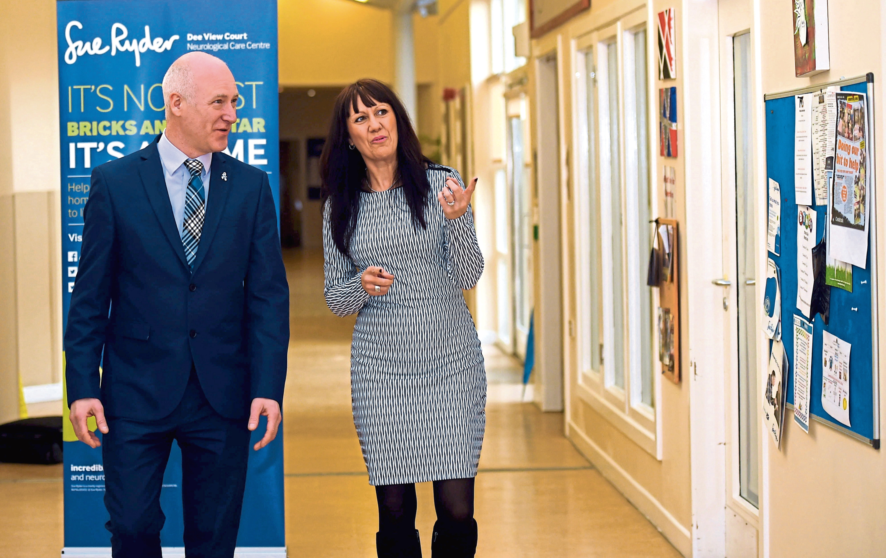 The Public Health minister during a visit to Dee View Court in Kincorth