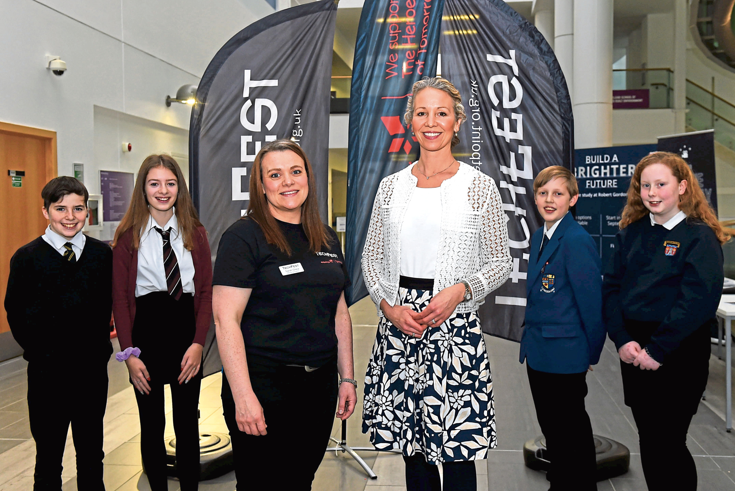 Ollie Croft from Keith Grammer School, Caitlin Bertram from Banchory Academy, Managing director of TechFest, Sarah Chew, Hedda Felin, senior vice president, UK and Ireland Offshore, Equinor, Kyle McIntosh from Inverurie Academy and Naomi Will from Hazlehead Academy