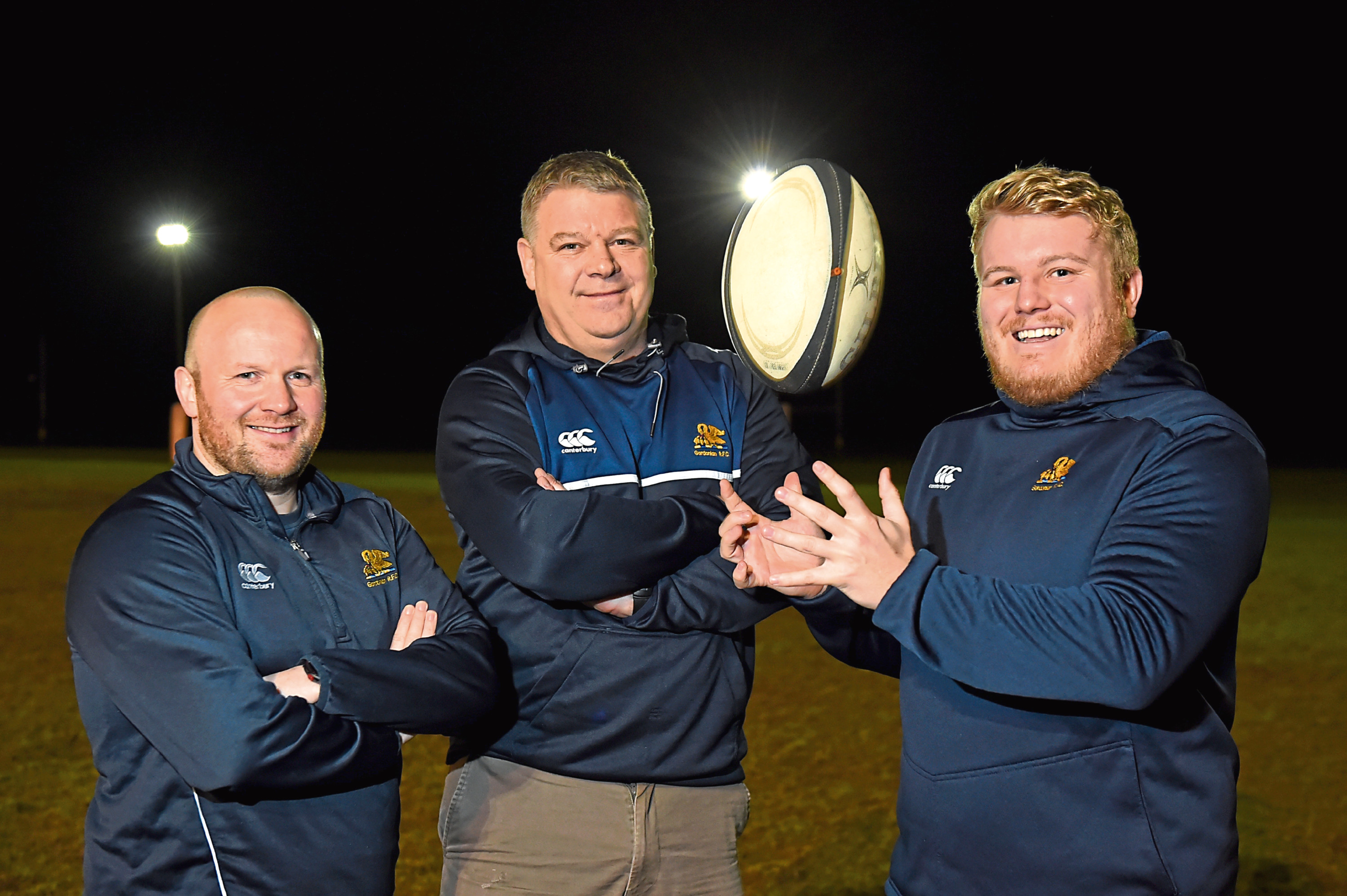 Picture of, left to right, head coach Ryan Morrice, president Jim Sugden and club captain Tom Williams.