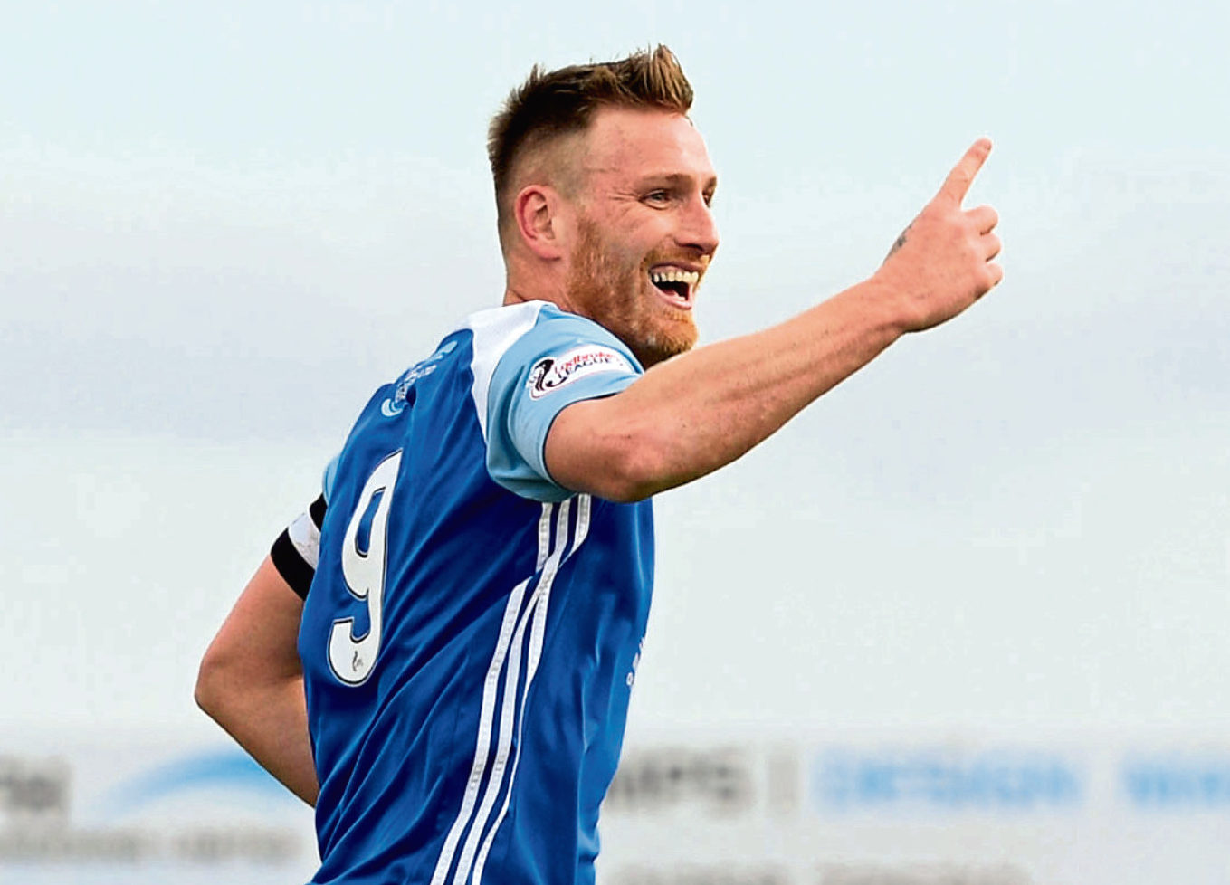 Peterhead's Rory McAllister celebrates his goal.