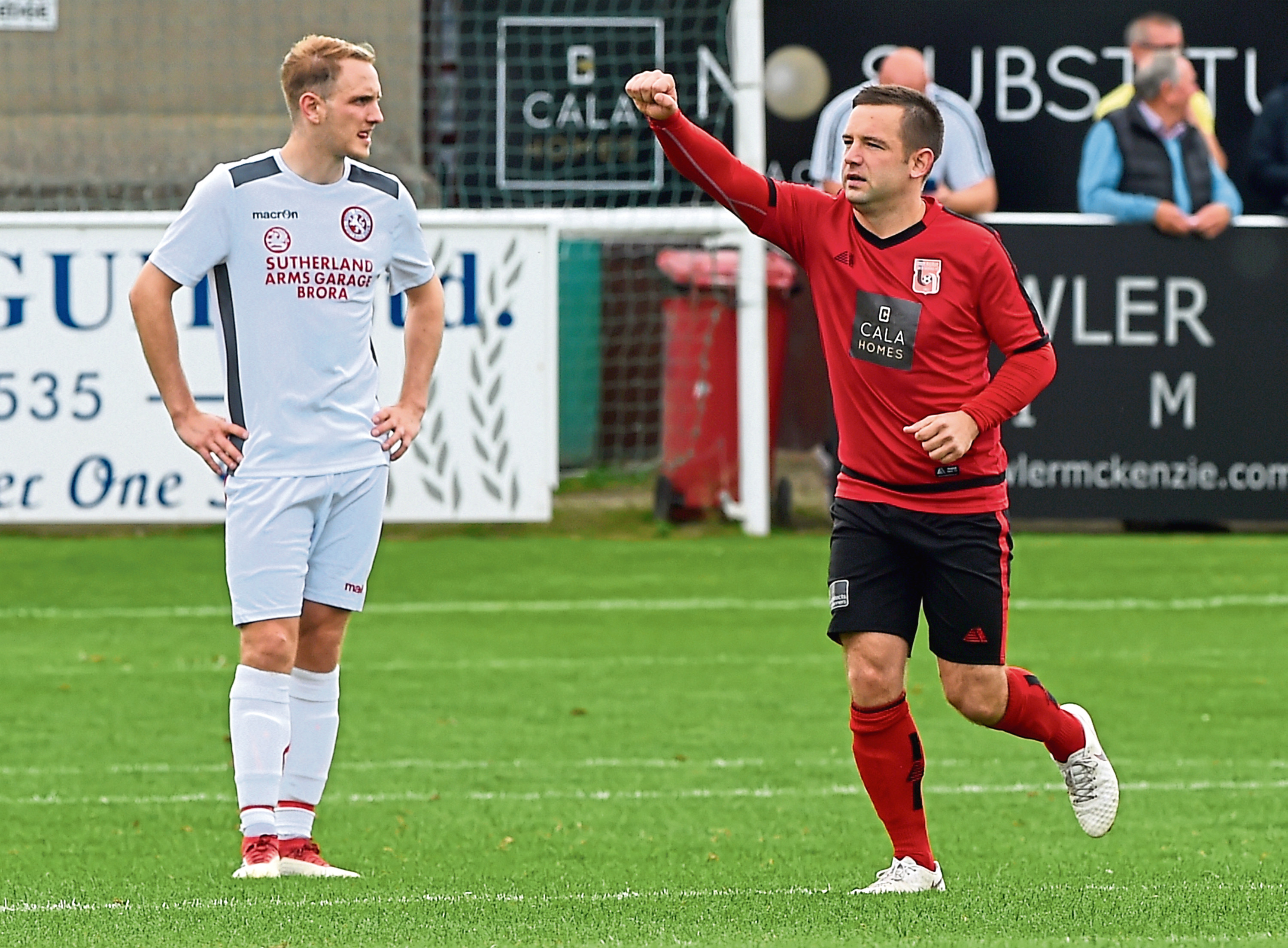 Neil Gauld celebrating after scoring a pen to make it 1-0. Picture by Kenny Elrick