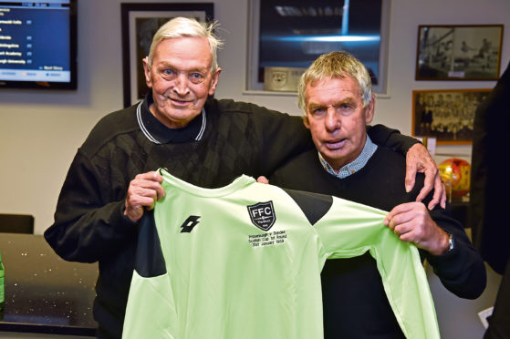 Danny Mowat receiving commemorative shirt from former manager Charlie Duncan.  Picture by KENNY ELRICK     26/01/2019