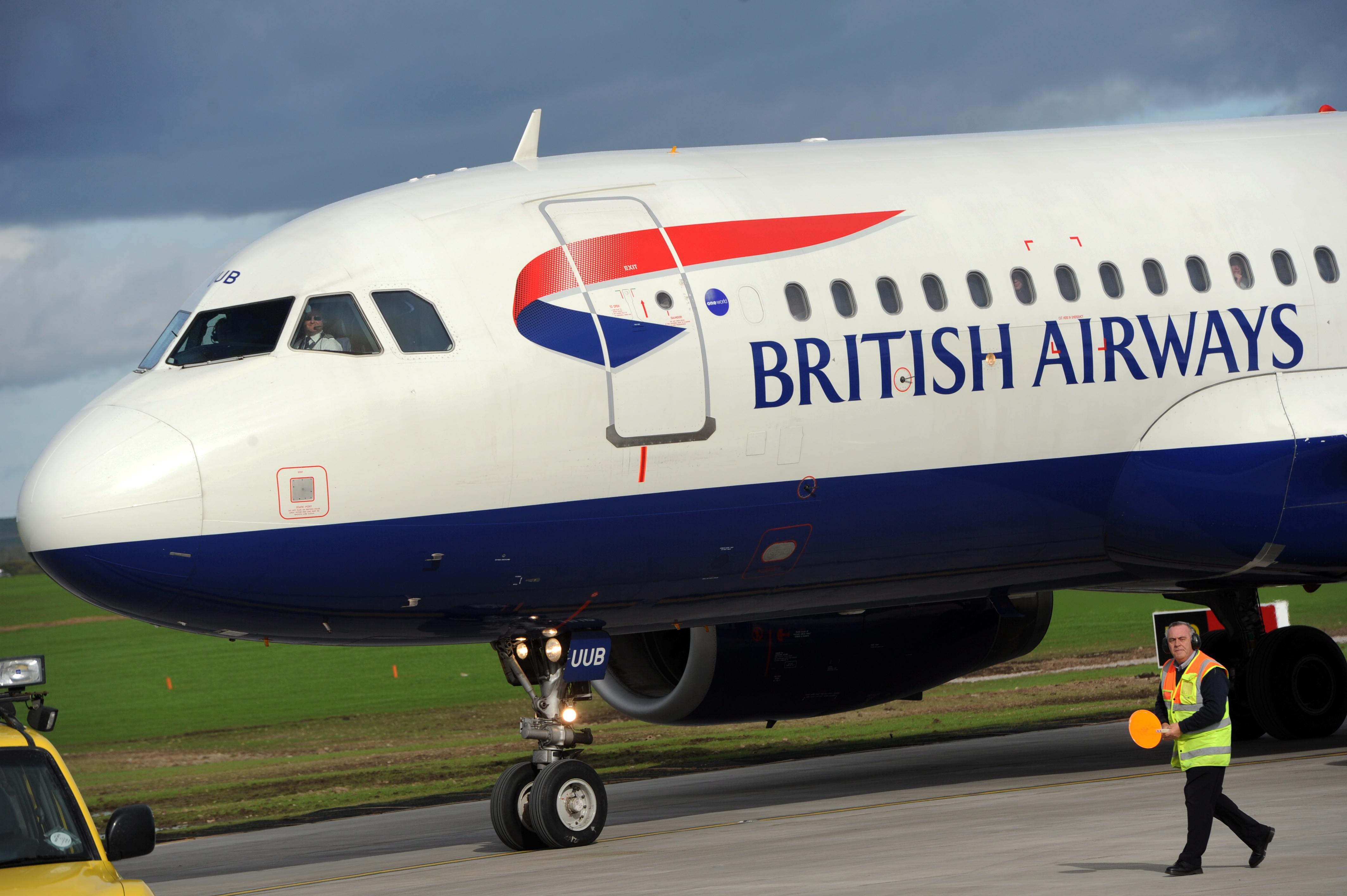 A British Airways aircraft arrives at Aberdeen airport