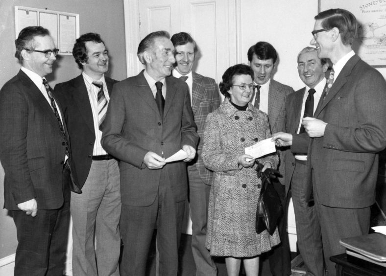 Two Aberdeen paper mill workers who between them had 82 years' service with the same firm collected awards in February 1978. Machineman Charles Mitchell, of Bucksburn, and tying mistress Mary Anderson, of Great Northern Road, retired from the Stoneywood works of Wiggins Teape Ltd