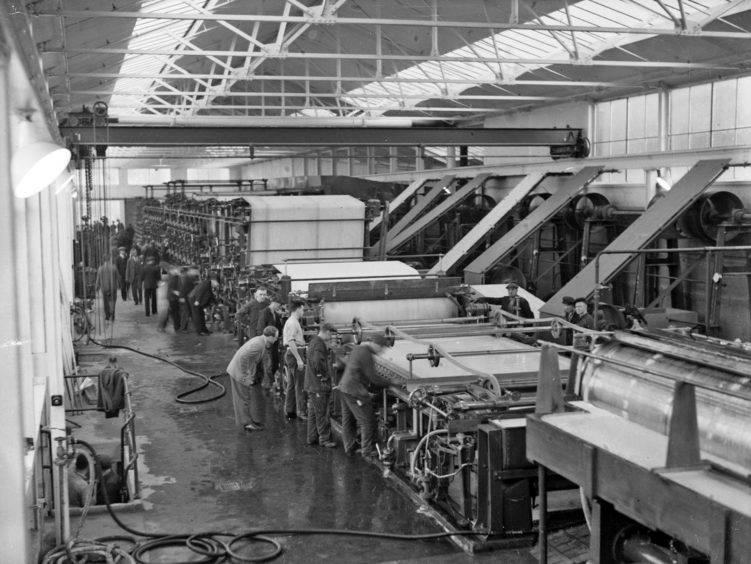 Workers grafting hard at Stoneywood Mill, Aberdeen, in this picture  from the mid-1930s