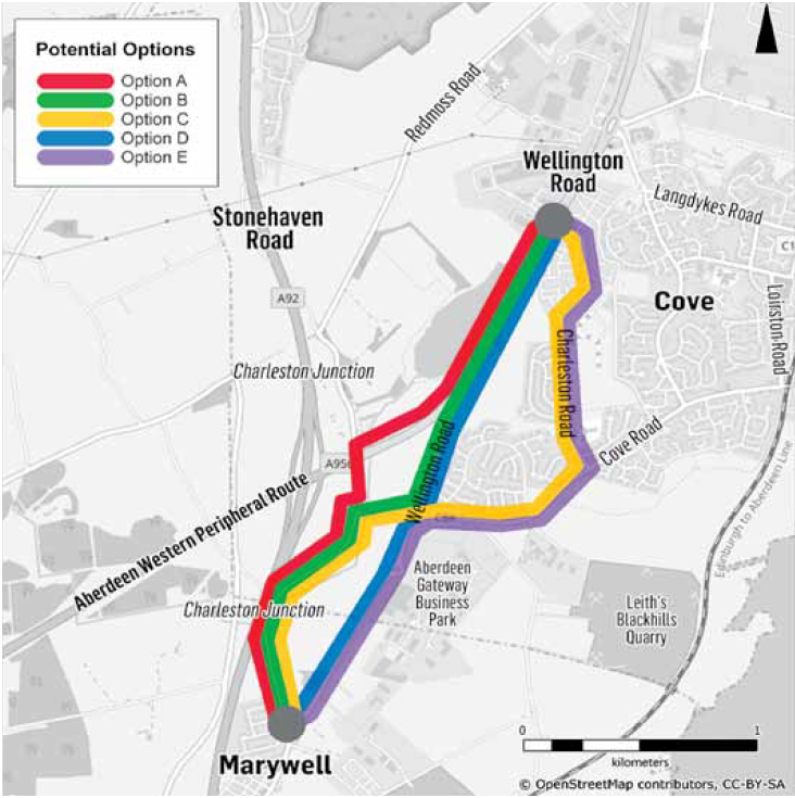 The options under consideration for new routes