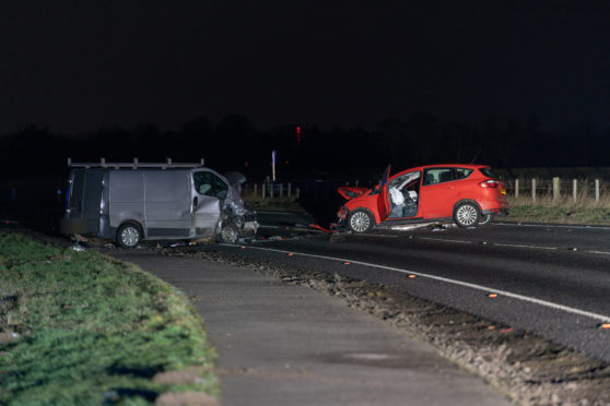 The scene of the crash on the A96