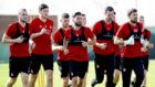 The Aberdeen squad train during the club's winter break in Dubai.