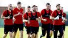 The Aberdeen squad train during the club's winter break in Dubai