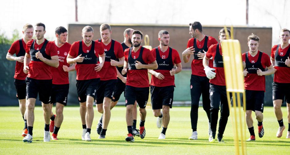 The Aberdeen squad train during the clubs winter break in Dubai