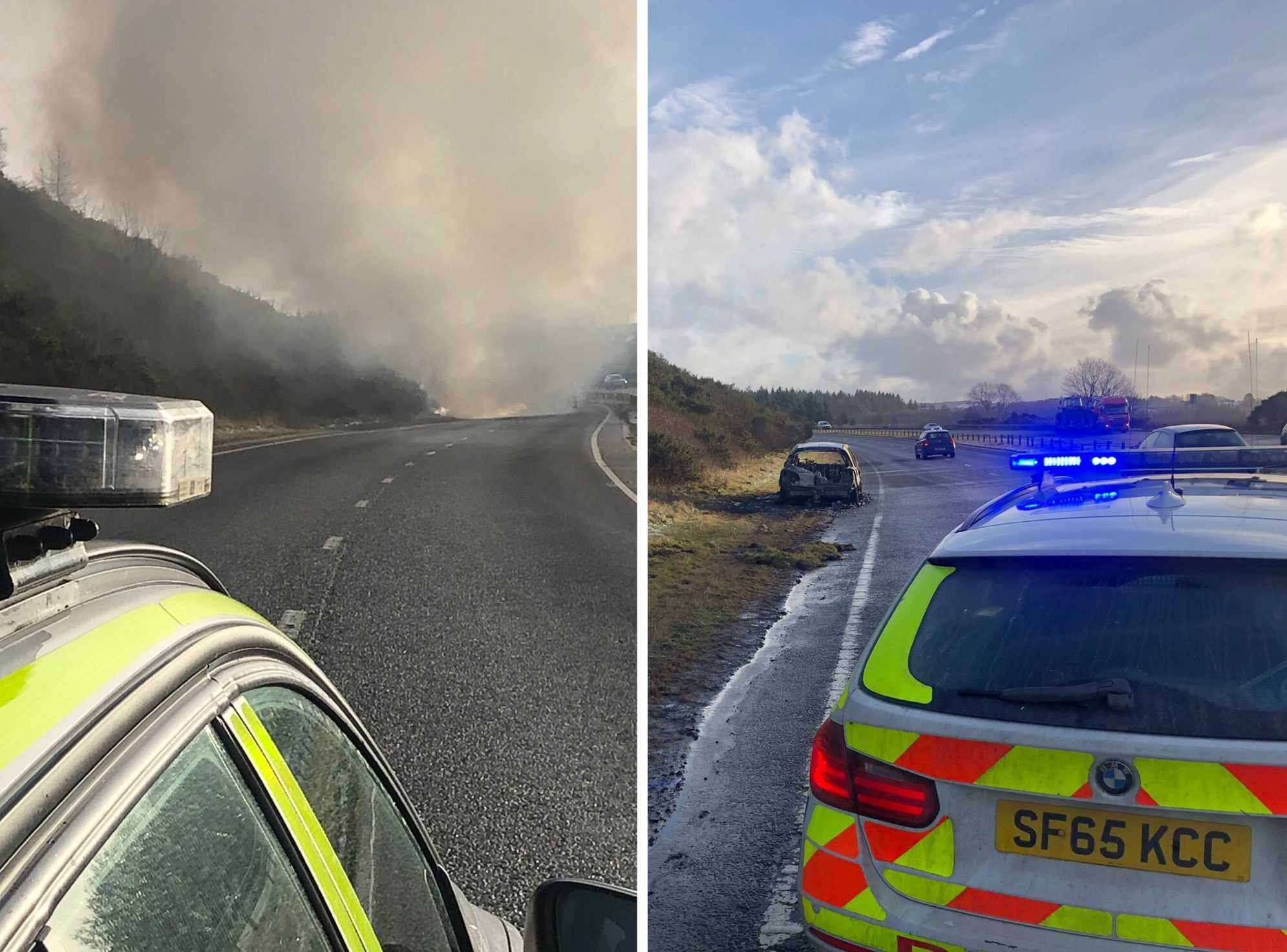 Police Scotland closed the road between Blackburn and Tyrebagger while fire crews extinguished the car fire.
