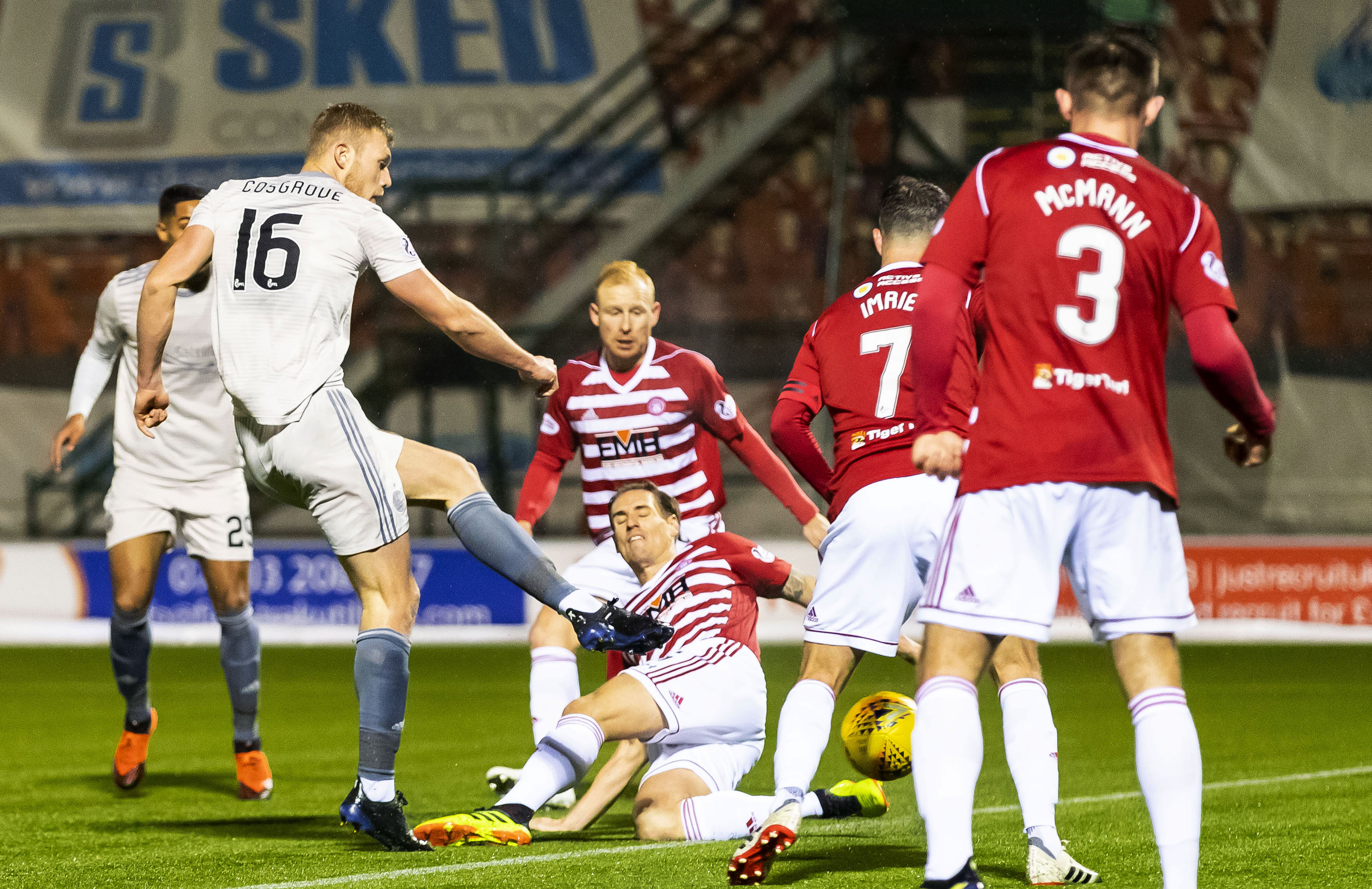 Aberdeen's Sam Cosgrove scores to make it 1-0 against Hamilton in January's 3-0 win.