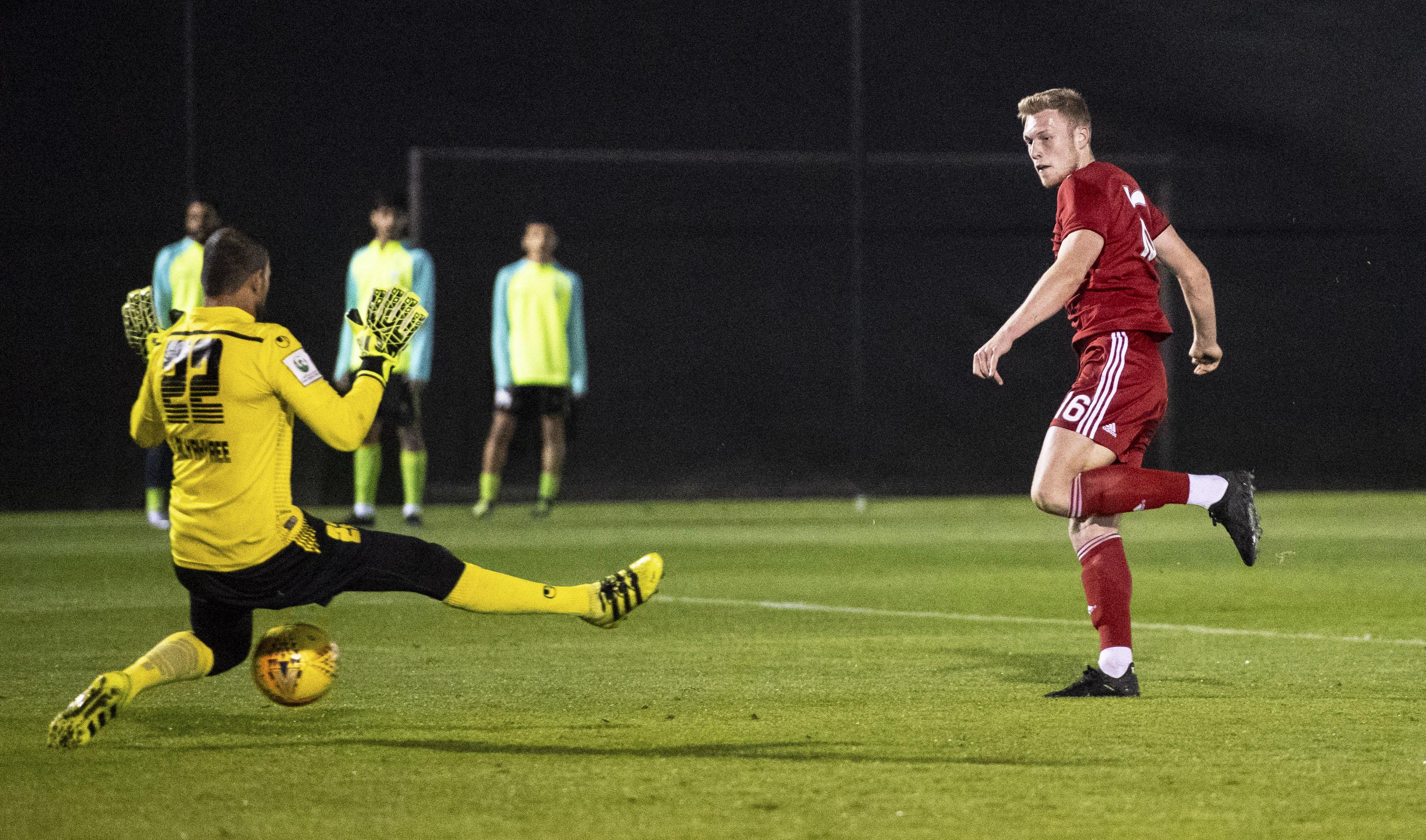 Sam Cosgrove scores to make it 1-0 Aberdeen against FC Dibba Al Hisn in Dubai.