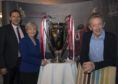 Co-leaders of Aberdeen City Council, Douglas Lumsden and Jenny Laing, with Denis Law