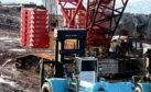 The damaged crane at Nigg Bay