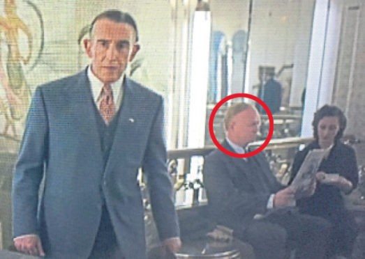 This exclusive picture shows Alex McLeish, circled, in a scene from Stan & Ollie