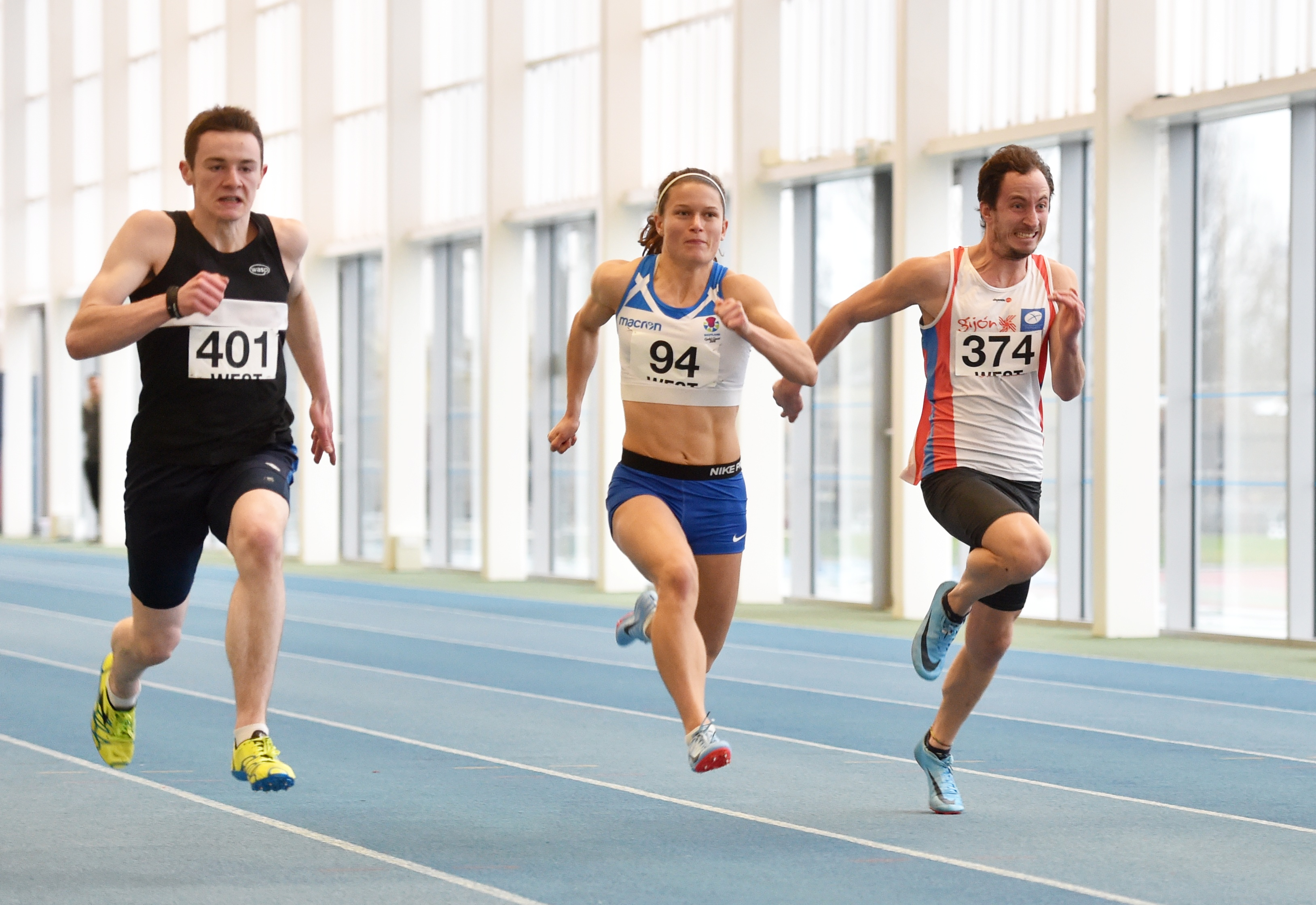 Zoey Clark, centre, will race indoors at Aberdeen Sports Village - her first race in more than a year.