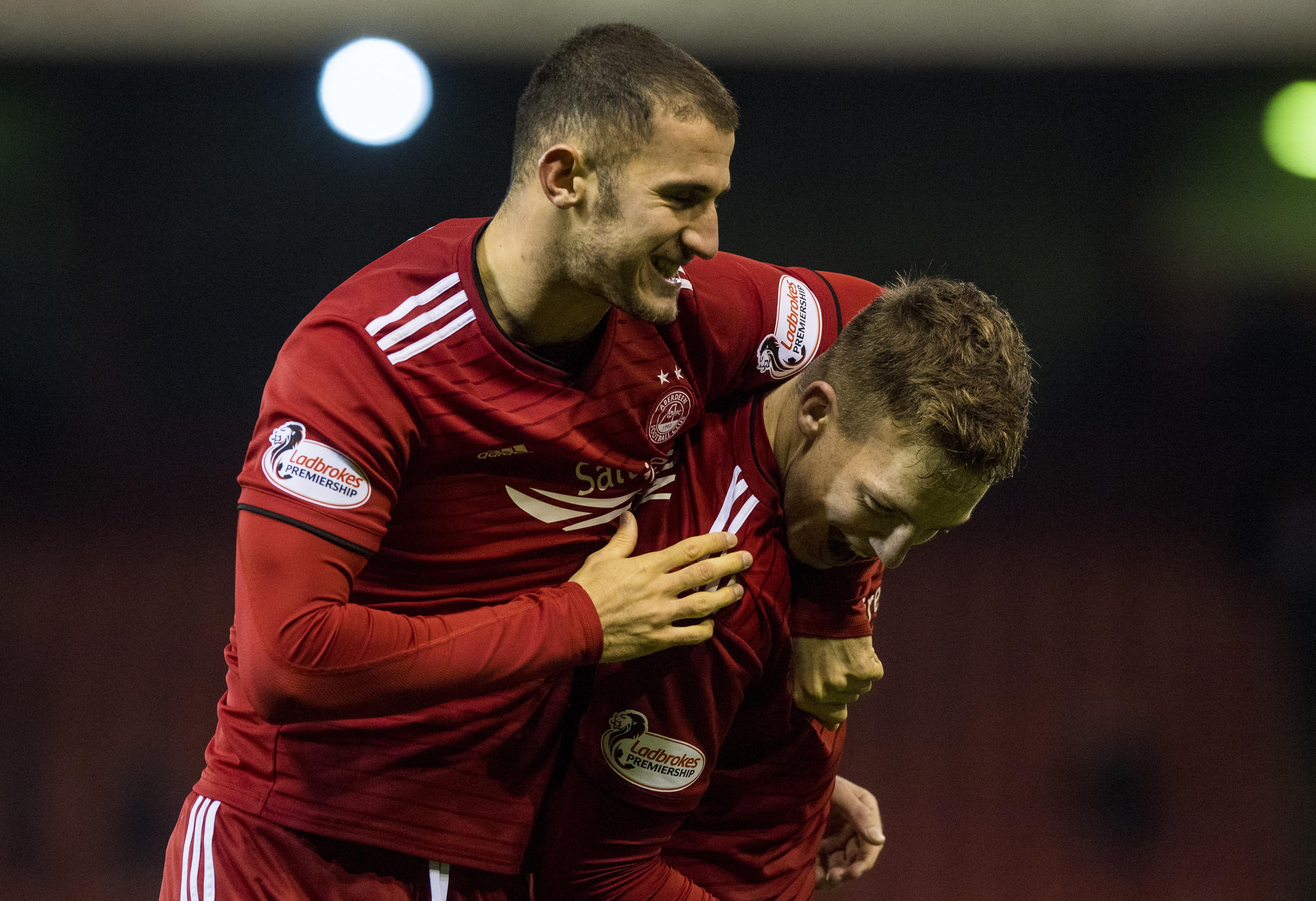 Aberdeen's Dom Ball, left.