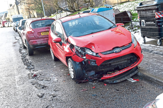 A Ford Fiesta was left badly damaged by the crash