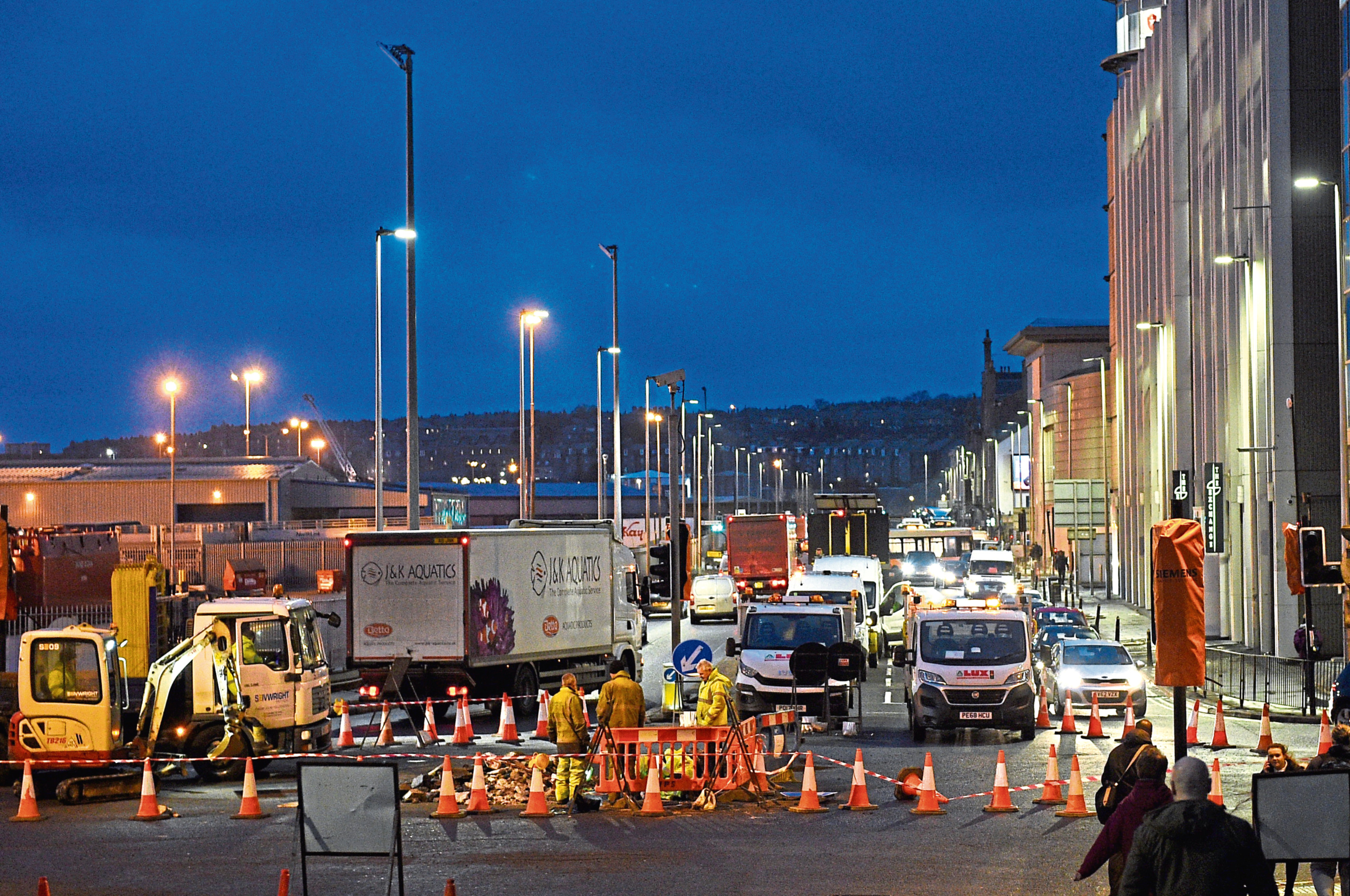 Traffic on Market Street due to the roadworks