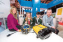 Steph Crawford from OPITO with Albyn school pupils Louise Brodie and Harris Macdonald, with Stuart Sloan of JFD
