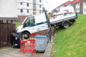 Pictured is an Aberdeen City Council Van that was involved in an rtc with the flats on 106-124 Farquhar Road, Torry, Aberdeen. Picture by DARRELL BENNS     Pictured on 23/04/2018