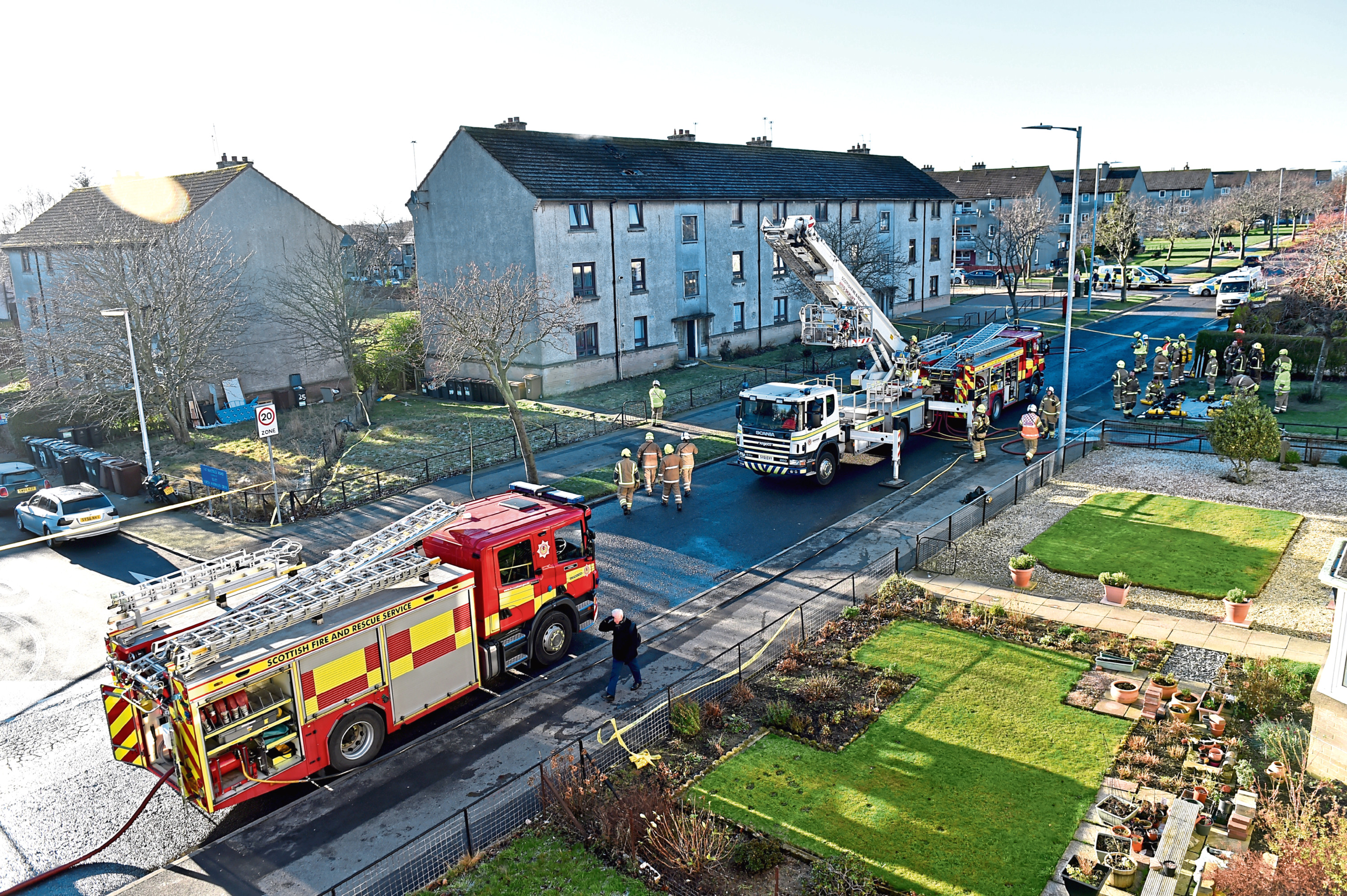 Firefighters at the scene of the blaze in Mastrick Road on January 23 which, after an investigation, has now been branded 'accidental'