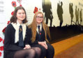Pupils Rachel Anderson and Rebecca Ricci with the WWI project