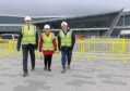 Photos of the media tour around the new AECC/TECA building site,  From left, co leaders of Aberdeen City Council Douglas Lumsden and Jenny Laing with Managing Director of TECA Nick Waight. 20/02/19 Picture by KATH FLANNERY