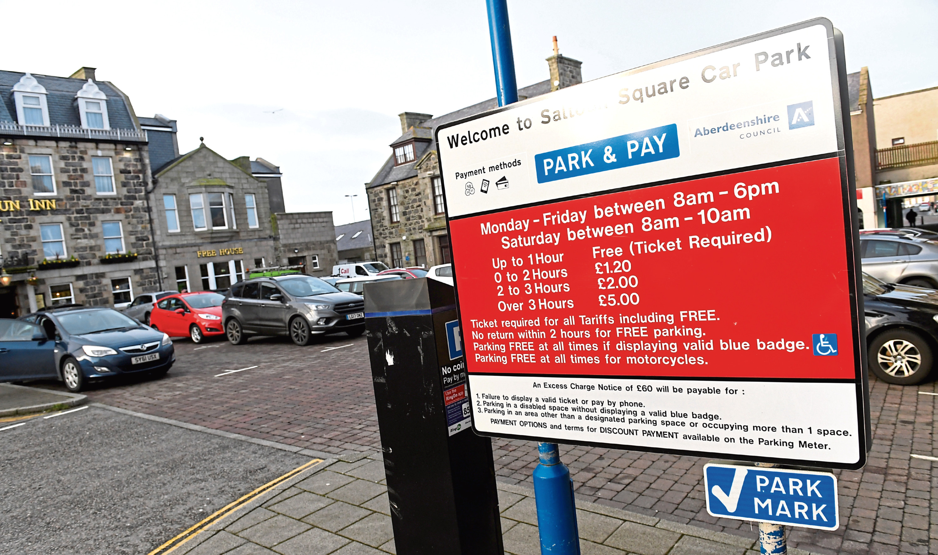 The move will see new tariffs for pay and display sites in towns including Peterhead, Ellon, Stonehaven and Banchory.