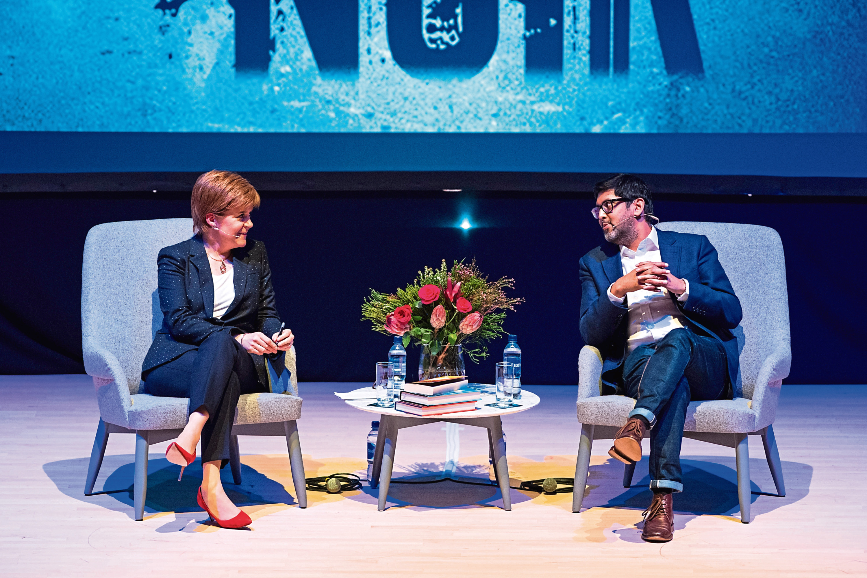 First Minister Nicola Sturgeon and Abir Mukherjee at the Music Hall event.  Picture by Richard Frew.