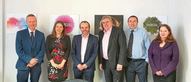 Aileen Campbell MSP, second left, with BIDs Group, from left, Adrian Watson, Jon Walton, Allan Henderson, Roddy Smith and Deborah Murray.