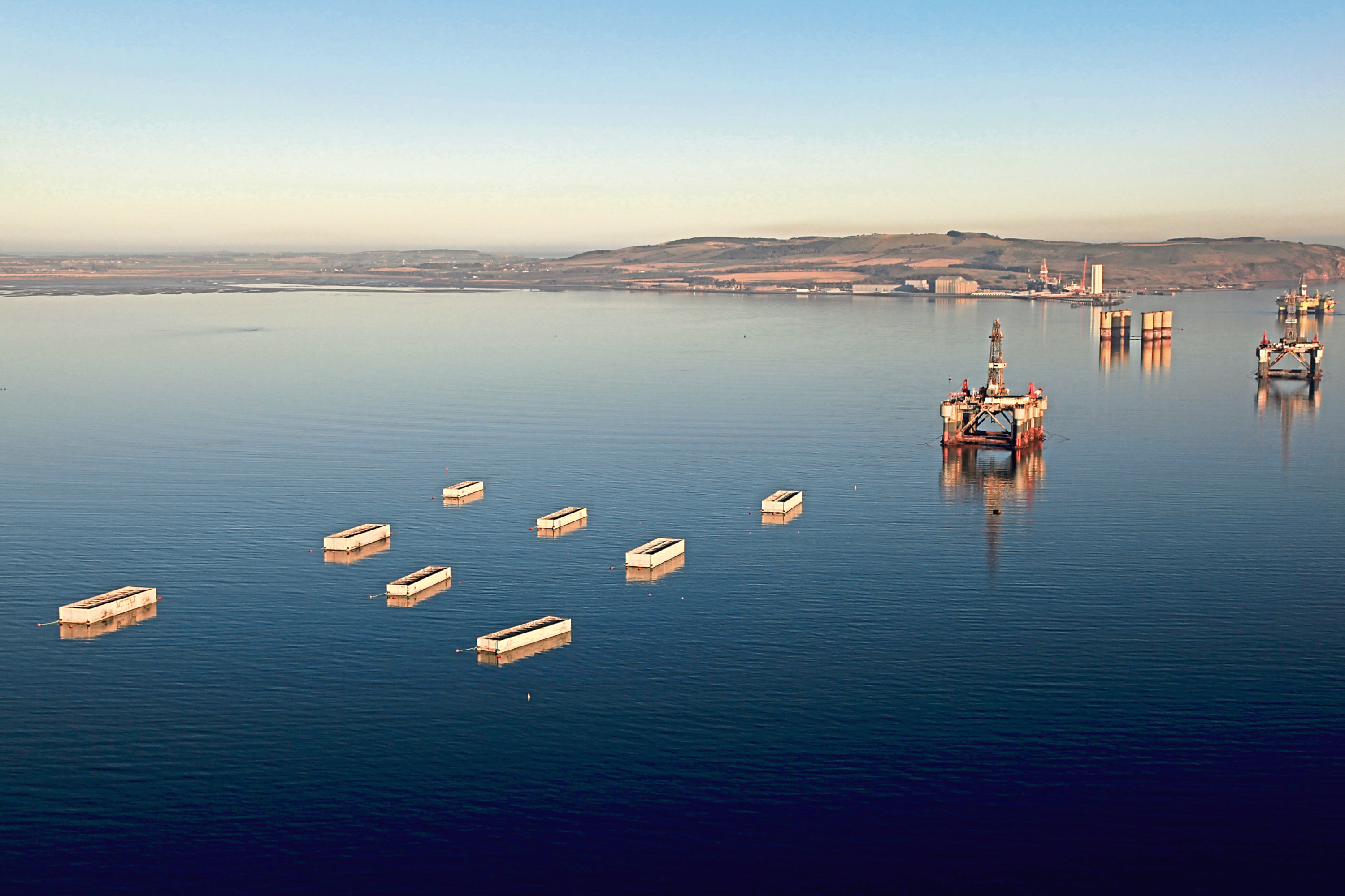 The caisson's were moved from the Cromarty Firth, where they were being stored ahead of their journey to Aberdeen