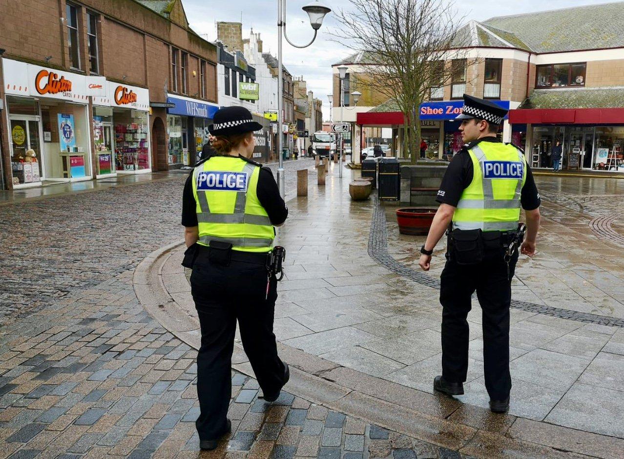 Officers on patrol in Peterhead
