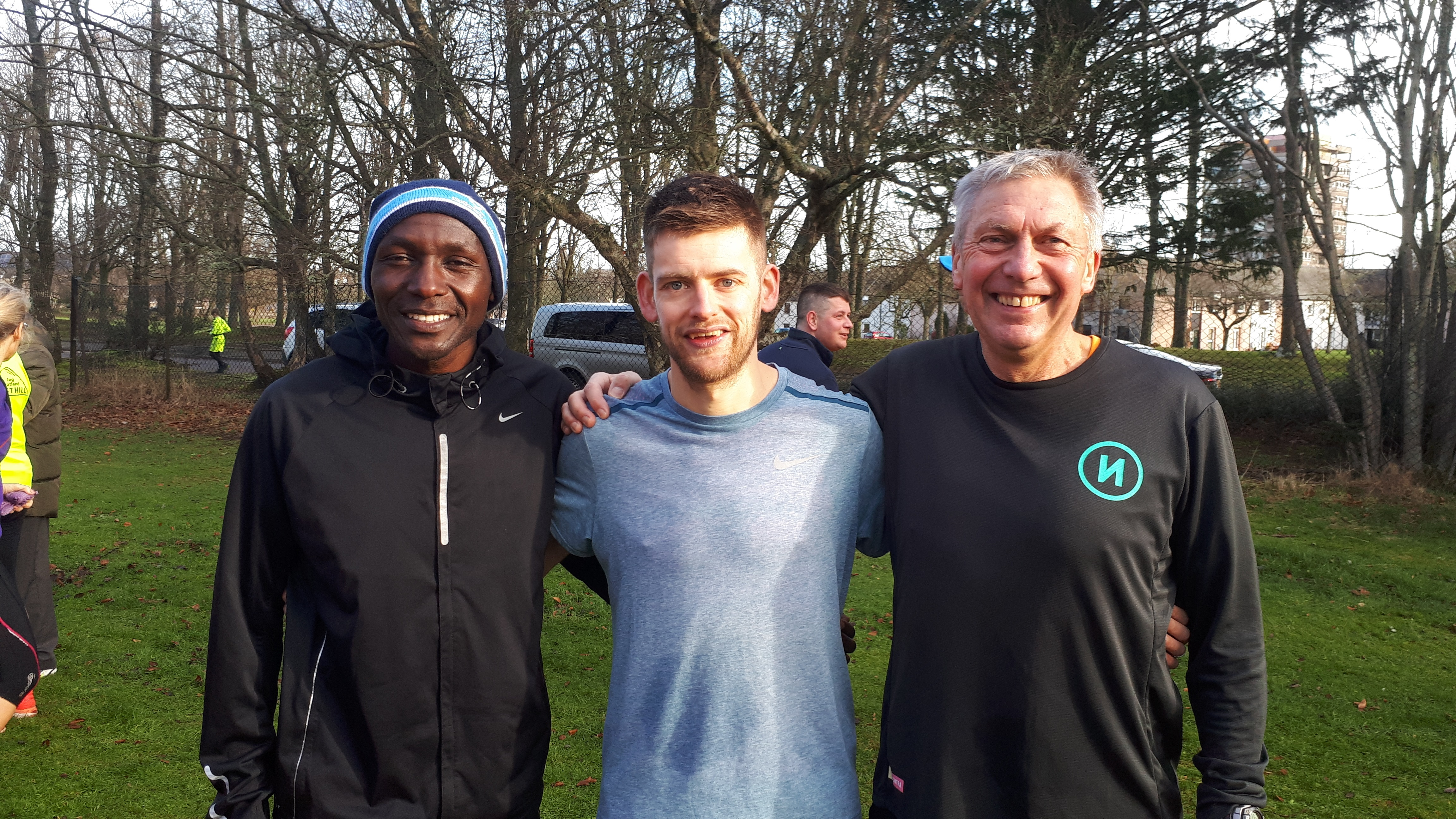 Left to right, Gideon Gathimba, Cameron Strachan and Dave Moorcroft.