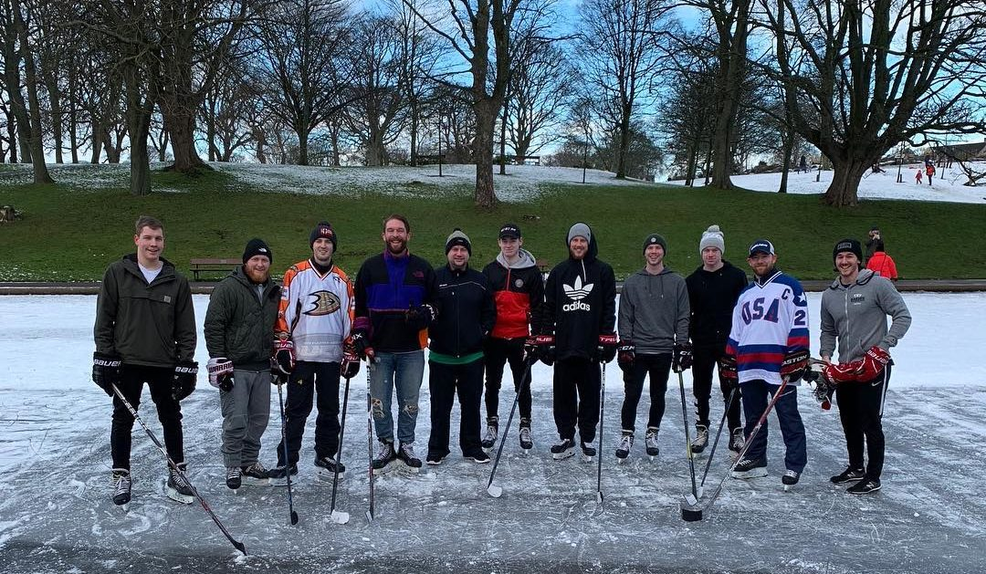 A few of the Lynx players unwound with a spot of pond hockey at Duthie Park