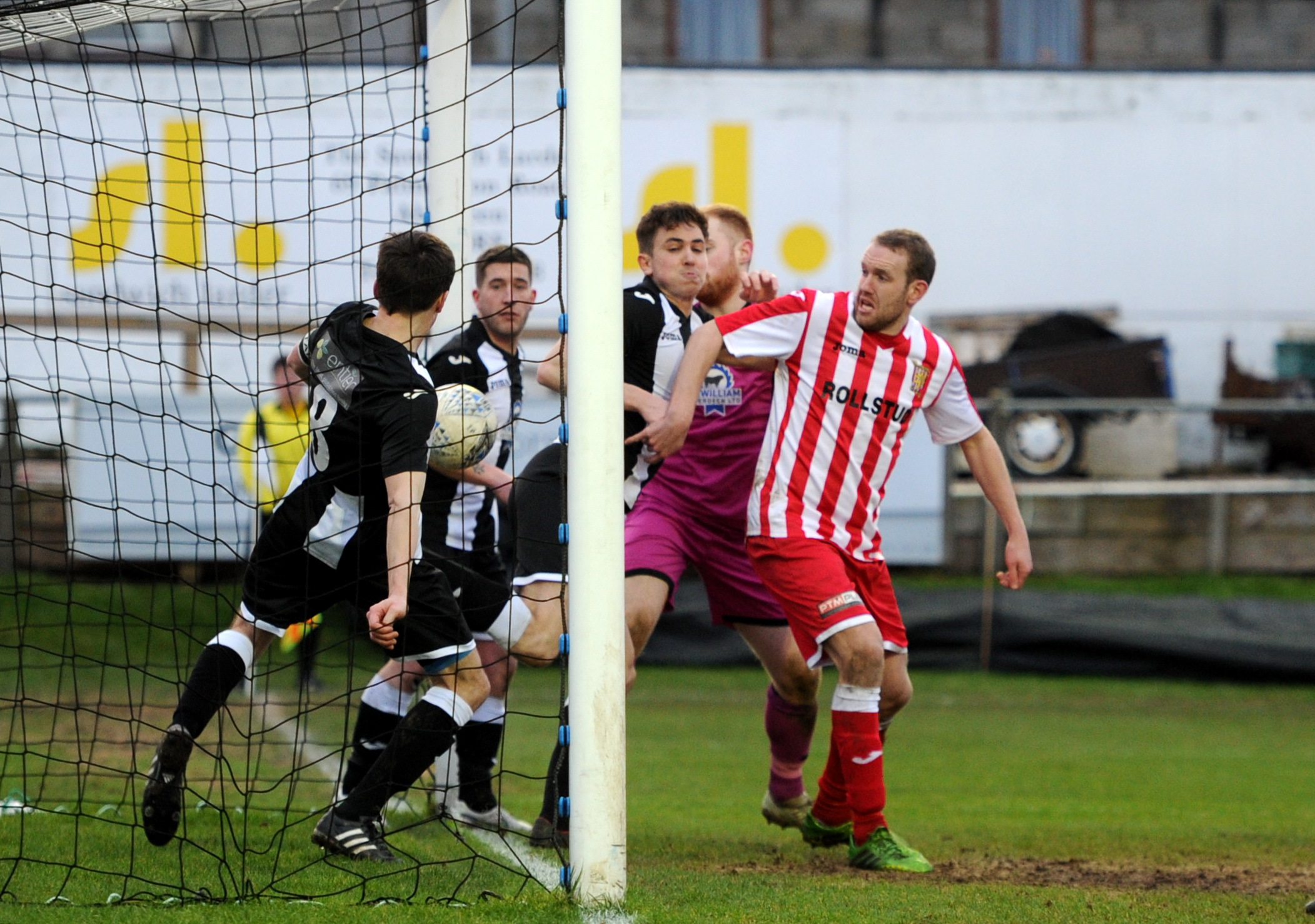 Pictured is the ball appearing to cross the line for a Formartine equaliser, however it was not given by the referee. Picture by Darrell Benns