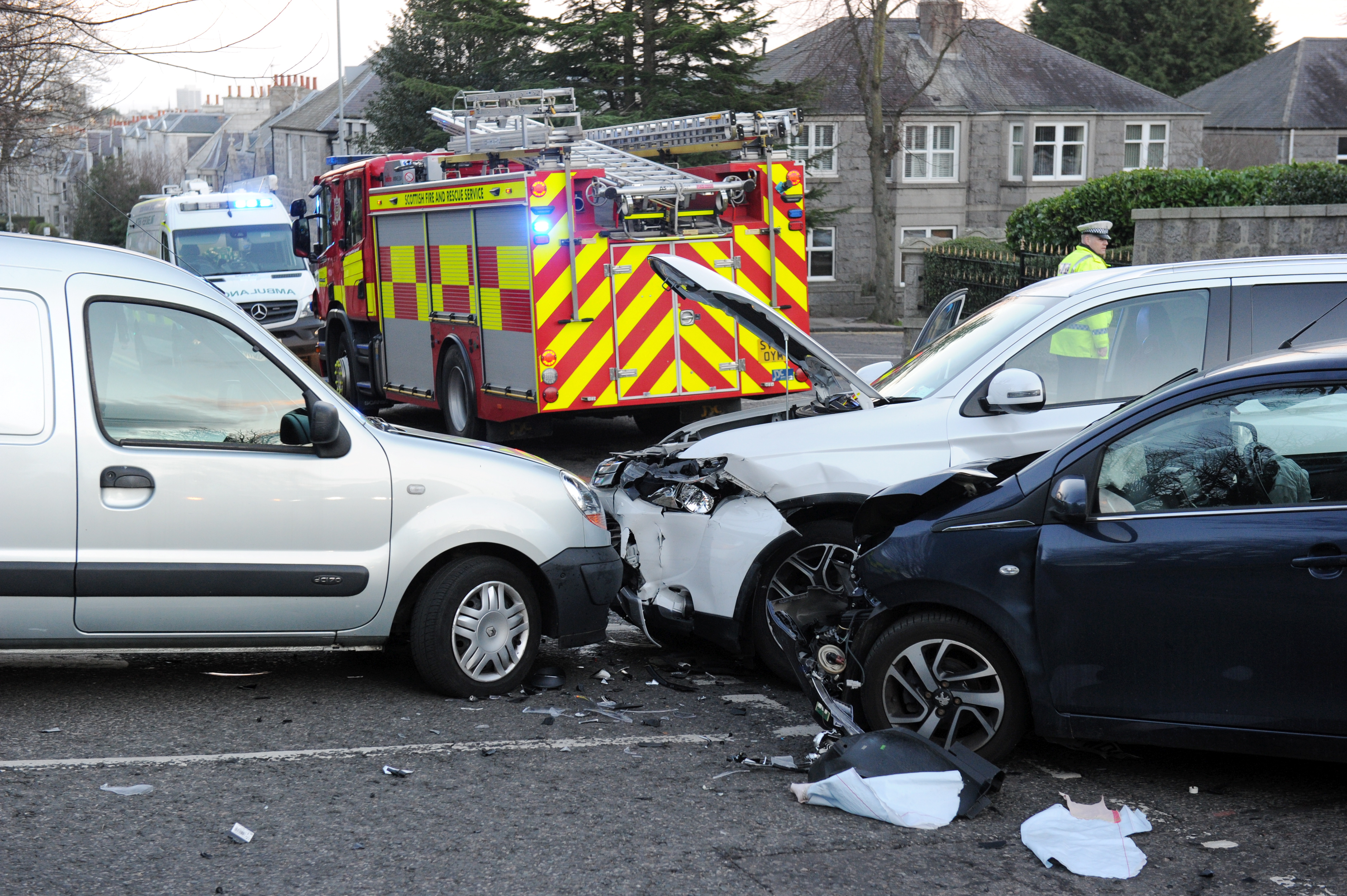 Police Scotland at the scene of a crash involving three cars on Kings Gate, at the junction to Oakhill Road.