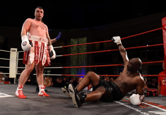 Lee McAllister after knocking down Danny Williams.
