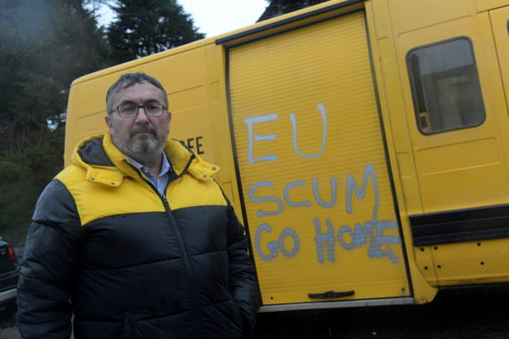 Christian Allard next to the van in Torry
