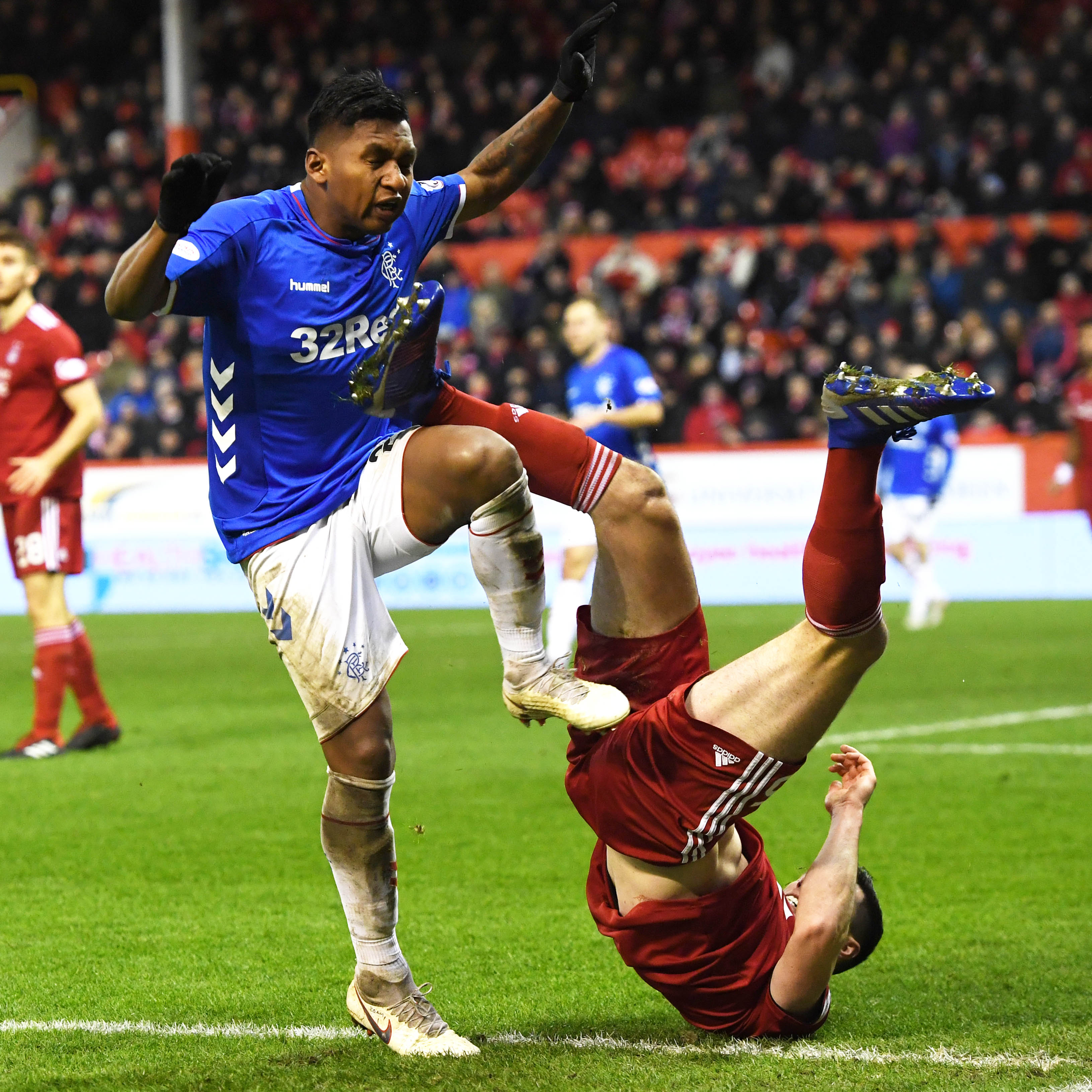 Rangers' Alfredo Morelos and Scott McKenna are both sent off after a coming together.